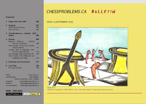 ChessProblems.ca Bulletin - Issue 10, December 2016